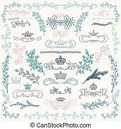 elemente, bunte, kronen, hand, vektor, design, blumen-, gezeichnet