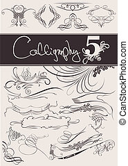 elemente, calligraphic, dekoration, vektor, design, seite, set: