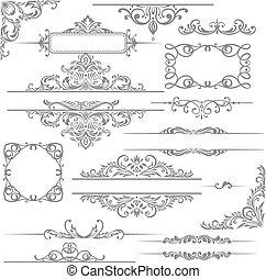 elemente, decoration., calligraphic, vektor, design, seite, set: