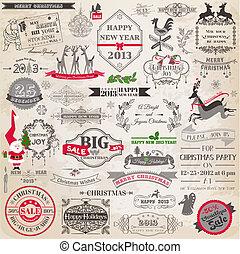 elemente, dekoration, calligraphic, vektor, design, weinlese, rahmen, weihnachten, set:, seite