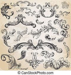 elemente, dekoration, rahmen, sammlung, calligraphic, vektor, design, weinlese, blumen, seite, set: