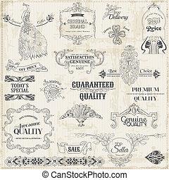 elemente, dekoration, rahmen, sammlung, calligraphic, vektor, design, weinlese, seite, set: