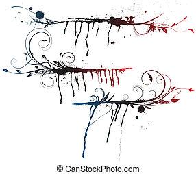 elemente, dekorativ, blumen-