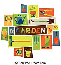 elemente, design, kleingarten, hintergrund, heiligenbilder