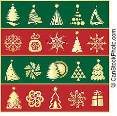 elemente, design, weihnachten, gold