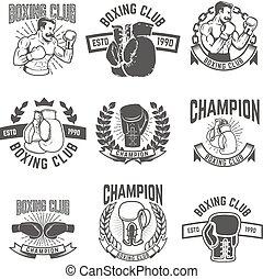elemente, embl, klub, boxen, labels., fester entwurf, etikett, logo