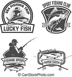 elemente, emblem, labels., fester entwurf, fischerei, thunfisch, logo