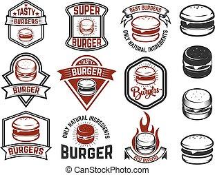 elemente, emblem, labels., hamburger, si, fester entwurf, menükarte, logo