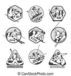 elemente, etiketten, cluburlaub, vektor, logo, embleme, ski...