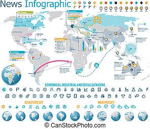 elemente, für, nachrichten, infographic