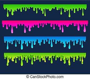 elemente, hand, unten, farbe, strömend, gezeichnet, ränder, karikatur, endlos