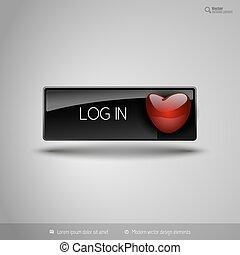 elemente, heart., geschaeftswelt, valentines., taste, vektor, schwarz, design, rotes