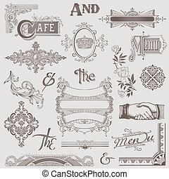 elemente, -, hoch, vektor, design, retro, verschieden, qualität, set: