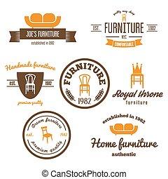 elemente, laden, logotype, emblem, satz, möbel, abzeichen, weinlese, logo