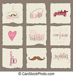 elemente, liebe, einladung, -for, vektor, design, papier, ...