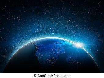 elemente, möbliert, dieser, bild, afrikas, space., nasa