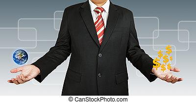 elemente, möbliert, dieser, bild, geld., nasa., (http://visibleearth.nasa.gov/view.php?id=57723), geschäftsmann, erde