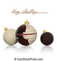 elemente, musikalisches, kugeln, weihnachten, drei