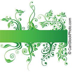 elemente, natur, vektor, design, blumen-, grün