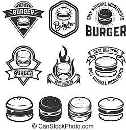 elemente, poster., zeichen, emblem, abbildung, hamburger, vektor, design, labels., menükarte, satz, logo
