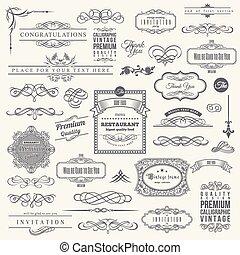 elemente, rahmen, sammlung, calligraphic, design, einladung, ecke, umrandungen