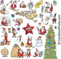 elemente, satz, karikatur, weihnachten