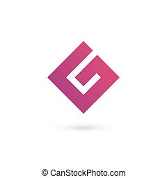 elemente, schablone, g, zahl, design, brief, 6, logo, ikone