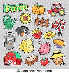 elemente, tiere, prints., bauernhof, gekritzel, vektor, landwirtschaftlich, landwirt, aufkleber, satz, ernte