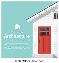 elemente, von, architektur, hintergrund, mit, a, kleines haus