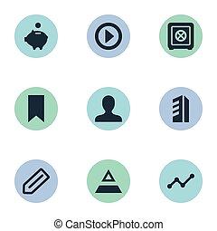 elementer, begynd, sæt, enkel, illustration, anden, synonyms, vektor, klient, icons., teamwork, konstruktion, stander, bank, customer.