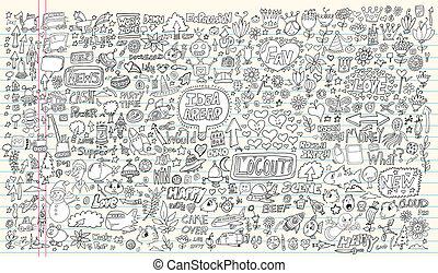 elementer, doodle, sæt formgiv, notesbog