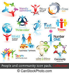 elementer, folk branche, icons., vektor, konstruktion, samfund, 3