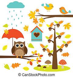 elementer, fugle, træer, sæt, vektor, owl., autumnal