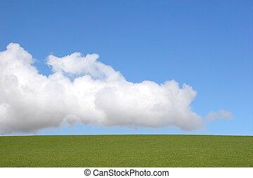 elementer, himmel, jord, skyer
