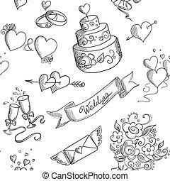 elementer, konstruktion, seamless, baggrund, bryllup