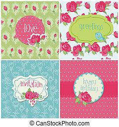 elementer, sæt, farverig, rose, -, invitation, vektor, fødselsdag, cards, bryllup, ferie