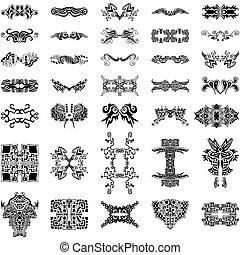 elementer, samling, hand-drawn, vektor, konstruktion, mageløs
