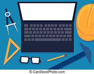 elementer, skærm, manipulation, blank, hvid, redskaberne, laptop