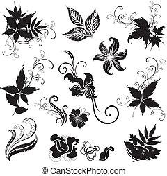 elementer, sort, blomstrede, sæt formgiv