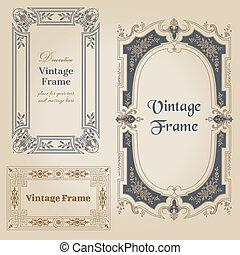 elementer, vinhøst, -, vektor, konstruktion, tekst, rammer,...