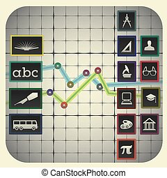 elementi, 14, grafico, simboli, infographic, includere, fondo, educazione