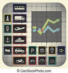 elementi, 17, grafico, simboli, infographic, includere, fondo, trasporto