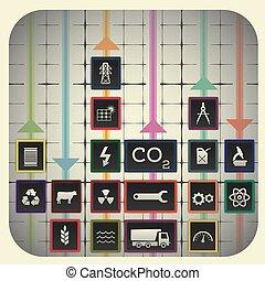 elementi, 18, industria, simboli, infographic, includere, fondo, grafico