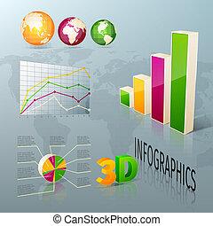 elementi, affari, disegno astratto, infographics, 3d