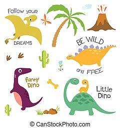 elementi, albero, dinosauro, altro, palma, orma, disegno,...