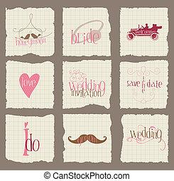 elementi, amore, invito, -for, vettore, disegno, carta, matrimonio, album