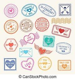 elementi, amore, romantico, vendemmia, vettore, disegno, stamps., album, lettere, postale, o