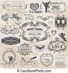 elementi, amore, valentine, vendemmia, -, vettore, disegno, album, progetto serie
