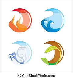 elementi, aria, (vector)., fuoco, quattro, acqua, suolo