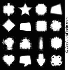 elementi, astratto, 16, set, halftone, disegno, bianco